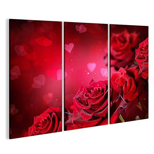 bilderfelix® Bild auf Leinwand Rosen und Herzen Hintergrund. Valentins- oder Hochzeitskartendesign Wandbild, Poster, Leinwandbild ICJ-3P