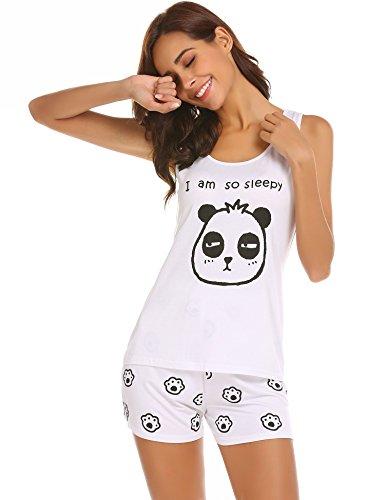 Unibelle pigiama due pezzi stampa pigiami estivi donna collo a u vestaglia ragazza senza maniche con pantalocini bianco m