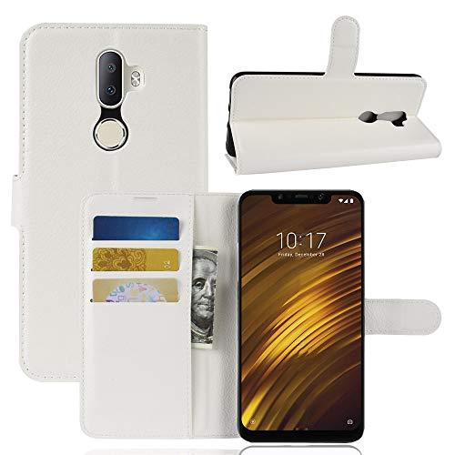 """XunEda Xiaomi Pocophone F1 6.18"""" Cover Custodia, Slim Flip Portafoglio in PU Pelle con Kickstand Bumper Protettiva Case Cover per Xiaomi Pocophone F1 Smartphone(Bianco)"""