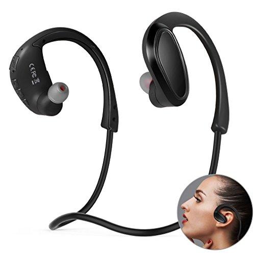 Auricolari bluetooth sport 4.2 incassata 8gb memoria storage, auricolari wireless bluetooth senza fili con microfono lettore mp3 per sport, correre, palestra, jogging, esercitazione (neri)