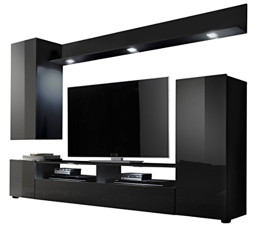 Furnline Dos High Gloss TV Stand Wall Unit Living Room Furniture Set, Black