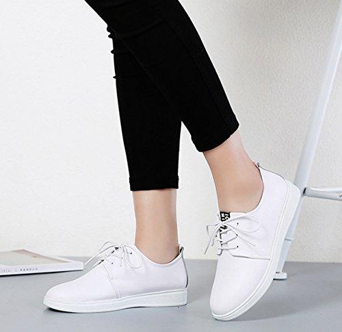 Damen Schnürhalbschuhe Kunstleder Modische Bequeme Leichtgewicht Anti-Rutsch Flache Damen Halbschuhe Weiß
