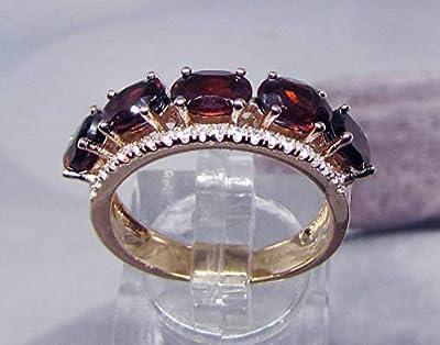 Bague Plaqué Or Grenat et Diamants Cz