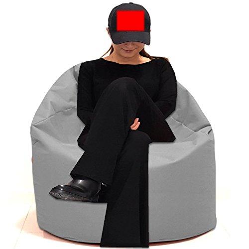 Sitzsack Sitzbag Größe S-M-L-XL-XXL-XXXL mit Styropor Füllung - In & Outdoor - verschiedene Farben & Größen - Bean Bag Sitzkissen Bodenkissen Hocker Kinder Sitzsäcke Möbel Kissen Sessel Sofa (XXXL - ca.88cm, Grau/Hellgrau)