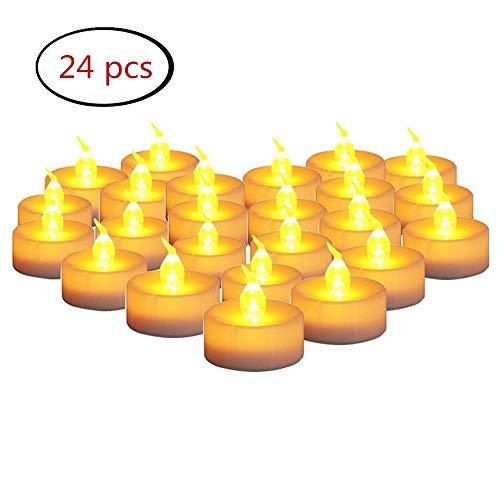 FABSELLER Gelbe flackernde LED-Kerzen, flammenlose elektronische Tee-Lichter Plastikkerzen mit Batterien für Dekoration, Festivals, Hochzeit (24Pcs)