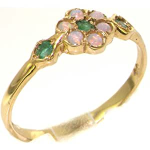 Luxury 9ct Yellow Gold Womens Emerald & Opal Vintage Style Cluster Ring - Size U - Finger Sizes J to Z Available - Perfect gift for Anniversary, Engagement, Wedding