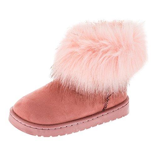 Fashionteam24 Gefütterte Mädchen Stiefel Winter Schuhe Boots mit Fell in Vielen Farben M454rs Rosa 36 EU - Fell Stiefel Rosa Winter