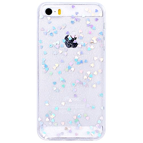 WE LOVE CASE iPhone 5S / 5 / SE Hülle Transparent Glitzern Liebe Flüssig Blau iPhone 5S / 5 / SE Hülle Silikon Weich Handyhülle Tasche für Mädchen Elegant Backcover , Soft TPU Flexibel Case Handycover Silver
