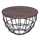 Couchtisch Wohnzimmer-Tisch rund Lexington ø 60 cm, Metall-Gestell Altsilber oder schwarz Farbe braun - Bassano