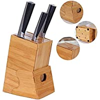 RJJBYY Porte-Couteau 7-Slot Bamboo Knife Block Universal Empty Knife Holder Storage Organizer Display Rack pour Cuisine Unique Slot Design pour Protéger Les Lames