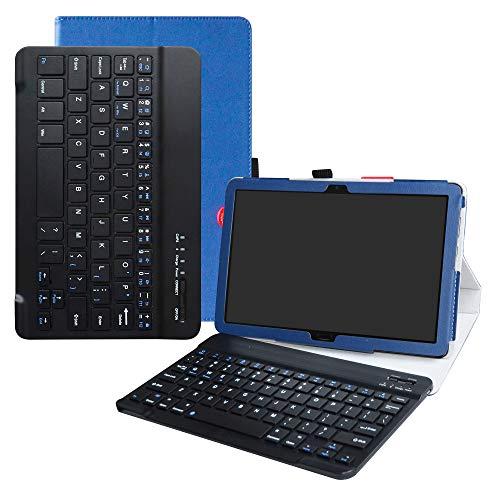 """LFDZ Acer Iconia One 10 Wireless Tastatur Hülle, Tasche PU Ledertasche mit Built in Abnehmbare Wireless Drahtlose Tastatur und Ständer Tasche Case für 10.1"""" Acer Iconia One 10 B3-A50 Tablet,Blau"""