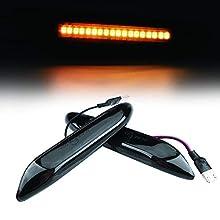 Qiilu Side Marker Light 2-Pack Car Side Marker Turn Signal Light for E90 E91 E92 E39 E60 E61 E46 E83 E81 Smoke Lens Amber Light