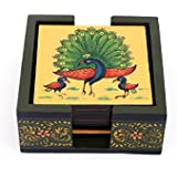 Harit Handicrafts Decorative Coaster Set. Handmade Exclusive Wooden Hand-Painted Dancing Peacock Family Tea Coasters Set Of 6. Multipurpose Coffee/Drink Coasters With Holder - SEHWH1118005C