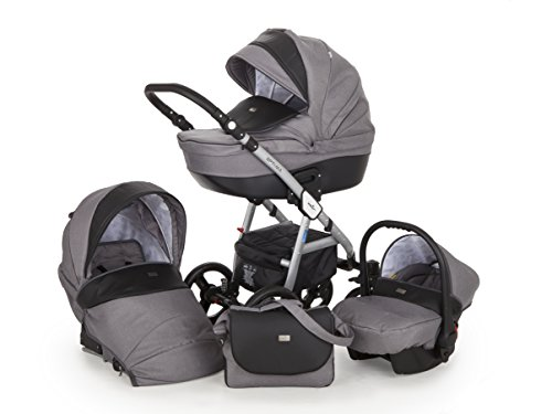 Lux4Kids Kinderwagen Set Babywanne Sportsitz Babyschale Wickeltasche Matratze Buggy 3in1 VIP Luxus Made in EU Ebur Grau-Schwarz