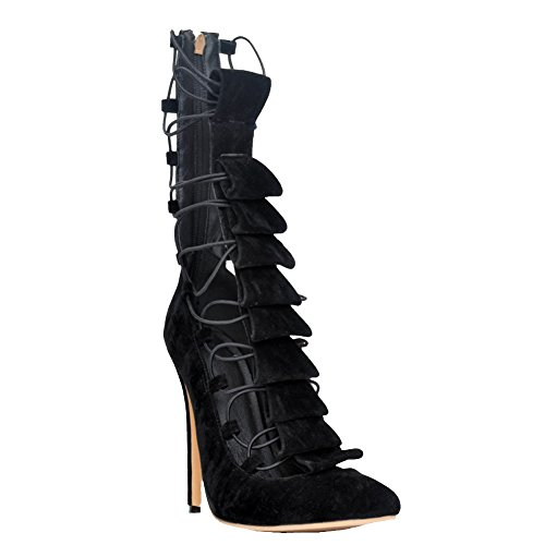 Kolnoo Damen Faschion 10cm Spitze-oben Band-hohe Spitze Absatz spitze Zehe Pumpen Schuhe Black