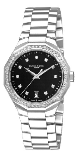 Baume & Mercier Women's A8716 Riviera Black Dial Diamond Watch