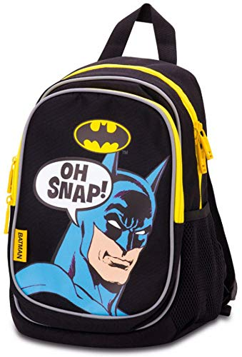 Kindergartenrucksack für Jungs und Mädchen - Kleiner Rucksack für Kinder mit Reflektirenden Elementen - Mini Kinderrucksack - Babyrucksack (Batman - Oh Snap!)