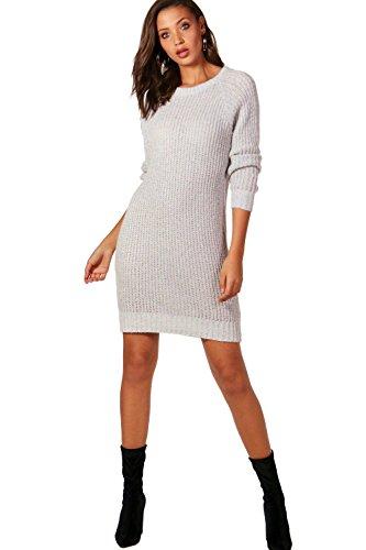argent Femmes robe pull en maille douce Tall Hollie Argent