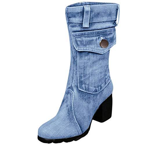 TPulling Damen Mode Overknee High Heels Schuhe Lange Röhre Ritter Lederstiefel Lange Röhre warme Knie Reißverschluss Stiefel Lederstiefel