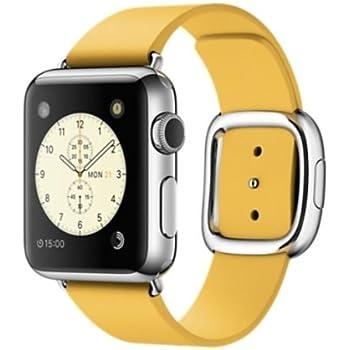 """Apple Watch 38 mm (1ª Generación) - Smartwatch iOS con caja de acero inoxidable en plata (pantalla 1.32"""", Apple S1 a 520 MHz, 8 GB, 512 MB RAM), correa ocre con herbilla moderna"""