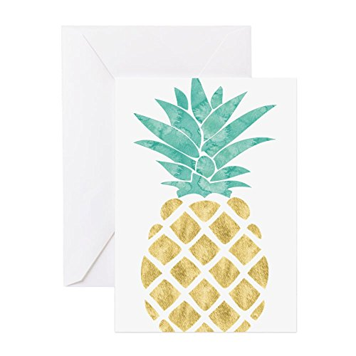 CafePress - goldene Ananas-Grußkarte - Grußkarte, Notizkarte, Geburtstagskarte, blanko Innenseite matt (Papier Kontakt Teal)