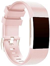 Malloom Moda deportes silicona pulsera correa banda para Fitbit Charge 2 (Rosa)