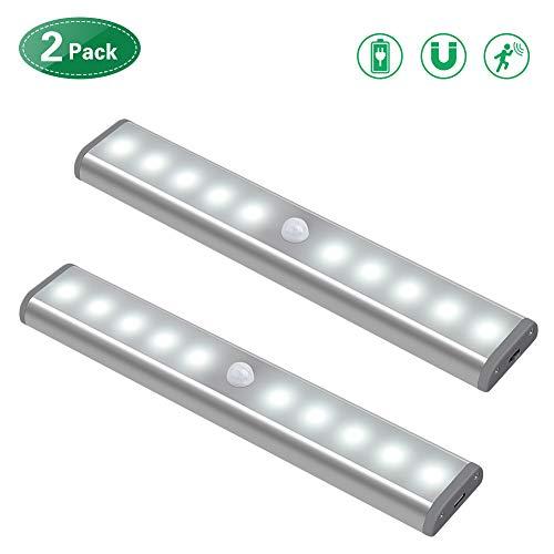 2PC LED Bewegungsmelder Schrankleuchten, Kleiderschrank Lampen Unterbauleiste Beleuchtung Küchenlampen, Schrankbeleuchtung Kabinett Nachtlicht Lichtleisten Spiegelschrank für Innen außen Schrank Küche -