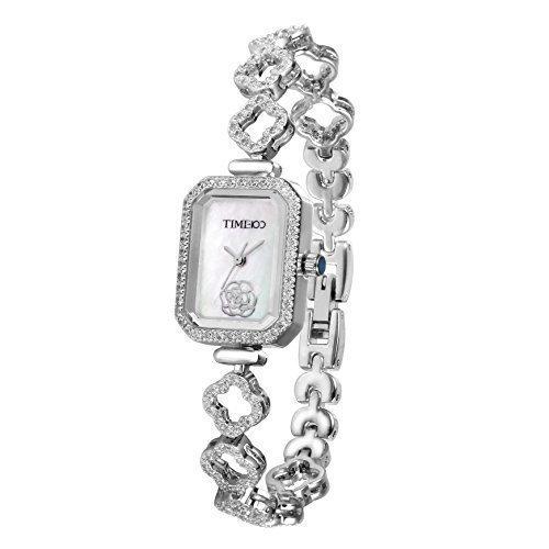 Time100 Orologio da Polso Donna, alla Moda, Movimento al Quarzo Giapponese, Decorato con Cristallo, Bracciale di Ottone Brillante, Quadrante Rettangolare di Madreperla Bianca#W50370L.01A