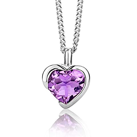 ByJoy 925 Heart Shaped Amethyst Pendant on 45 cm Curb