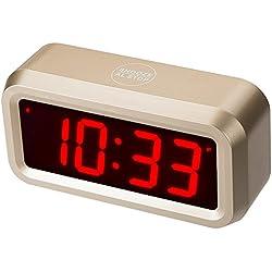 """Horloge numérique Timegyro Small Wall / étagère / bureau avec 1.2 """"grand écran à piles. 4pcs batteries peuvent garder l'affichage du temps jour et nuit pendant plus d'un an (d'or)"""