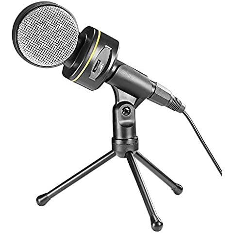Neewer Micrófono de condensador con control de volumen y 4.2 pulgadas / 10,7 cm Mini soporte del trípode, conector de 3,5 mm de Difusión de grabación Podcasting Estudio Mic para los ordenadores portátiles, ordenadores sobremesa y