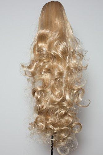 Elegant Hair - 56 cm / 22 pouces queue de cheval boucles toumbants – Blond de cendre -Clip-in pièce de extensions de cheveux réversible - Avec griffe-clip - 30 Couleurs - 250g