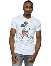Disney Herren Mickey Mouse Walking T-Shirt X-Large Weiß