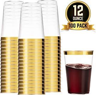 WDF Kunststoffbecher, 340 ml, goldfarben, 100 Stück Gold Trim Teller Gold Trim