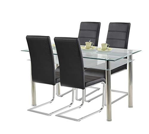 agionda ® Essgruppe Esstisch Kay Jake 140 x 80 + Stuhlset Jan Piet ® 4er Satz mit hochwertigem PU Kunstleder in schwarz