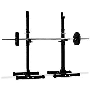 Klarfit Support de barres - Paire de support poids pour haltères longs et curl (<100kg, résistant