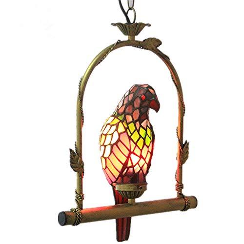 GXCX Vintage Tiffany Stil Glasmalerei Kronleuchter Papagei Design für Esszimmer Küche Pendelleuchte - Die 3 Hellen, Rustikalen Kronleuchter