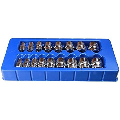 BERGEN TOOLS - Juego de llaves de vaso de impacto superficial (17 unidades ,3/8'', 8 - 24 mm)