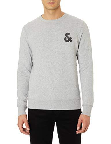 JACK & JONES NOS Herren JJECHEST Logo Sweat Crew Neck NOOS Sweatshirt, Grau (Light Grey Detail: Reg-Melange), (Herstellergröße: XX-Large) -