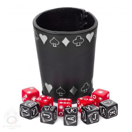 Q-Workshop QWOPOK02 - Poker Dice Set with Leather Cup Brettspiele, silber