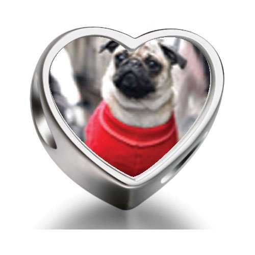 Rarelove Sterling Silver Dressed Up Pug Heart Photo Charm Beads