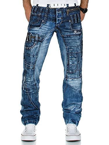 Kosmo Lupo K&M 020 Designer Herren Jeans Hose Clubwear Style Blau Verwaschen Multi Pocket W29-W38 / L32-L34, Größe:W32 / L32 -