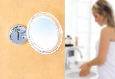Enzo Rodi 413610 aufladbarar LED-Kosmetikspiegel mit 5-fach Vergrösserung zur Wandmontage