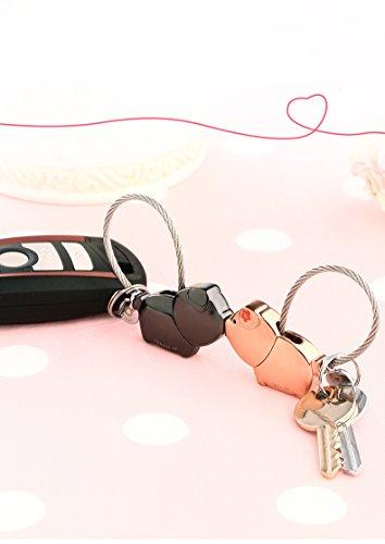 EAECOM Schlüsselanhänger 1 Paar küssender Schwein Schlüsselring partneranhänger Valentinsgruß Geschenk Zink Legierungs glänzende Anhänger, Niedliche Schlüssel Anhänger, Gun Schwarz&Roségold