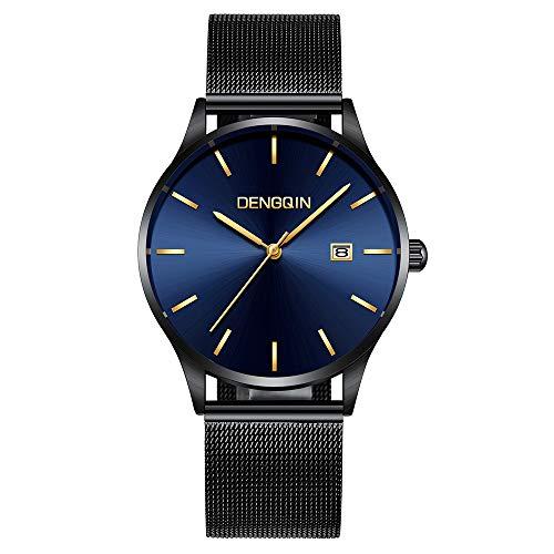 Celucke Quarzuhr Herren Ultradünne Armbanduhr, Männer Uhren Lässig Minimalistische Uhr Wasserdicht Herrenuhren mit Datumsanzeige und Edelstahl Armband