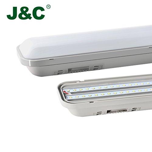 J&C® 120cm(4ft) IP65 Impermeabile Apparecchio d'illuminazione LED, 24W 2835 SMD 2000LM 4500K Bianco Naturale Lampada Fluorescente per il Garage e Piscina