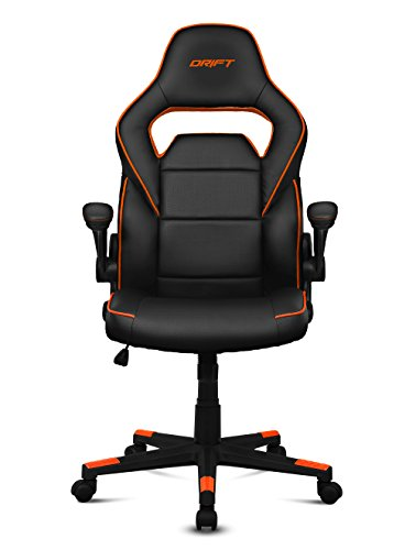 Drift DR75  - Silla de gaming de piel sintética , 66 x 53 x 115-123 cm, Negro y naranja