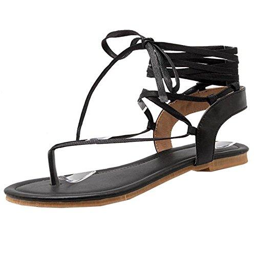 COOLCEPT Femmes Clip Toe Talon bas Tongs Sandales Gladiateur Lacets Chaussures Noir