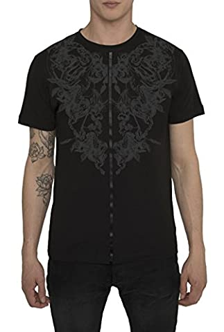 Mens Designer Metallic Fashion White, Black Tee Shirts Rock Tattoo Style Matte Foil Print - SCORPION DEATH FLOWERS - High Quality 100 % Cotton Jersey T Shirt - Crew Neck Short Sleeve Trendy Tops For Men,Black,Medium