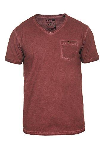!Solid Tinny Herren T-Shirt Kurzarm Shirt mit V-Ausschnitt Aus 100% Baumwolle, Größe:XL, Farbe:Wine Red (0985) (Baumwolle Kurzarm V-neck T-shirt)